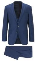 HUGO BOSS - Slim Fit Three Piece Suit In Patterned Virgin Wool - Dark Blue