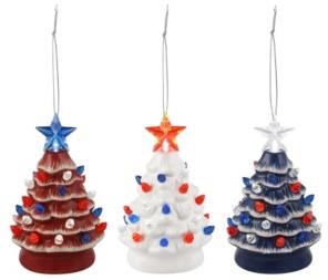 Mr. Christmas Set of 3 Mini Lit Patriotic Nostalgic trees