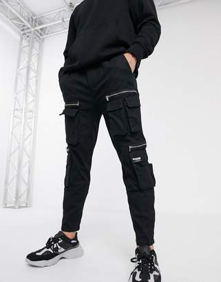 Bershka cargo trousers with zip detail in black