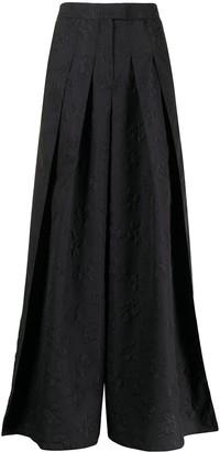 Emporio Armani Floral-Embroidered Culotte Trousers