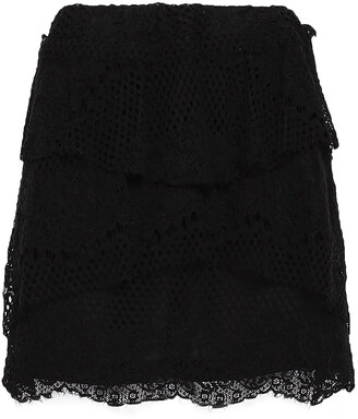 IRO Pixy Tiered Cotton-blend Lace Mini Skirt