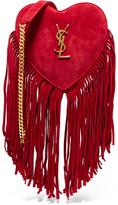 Saint Laurent Love Small Fringed Suede Shoulder Bag - Red