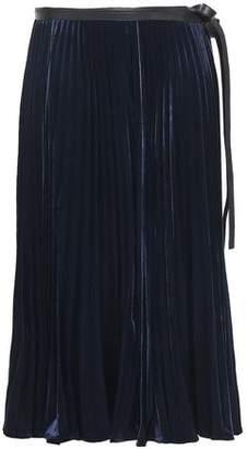 Valentino Pleated Velvet Wrap Midi Skirt
