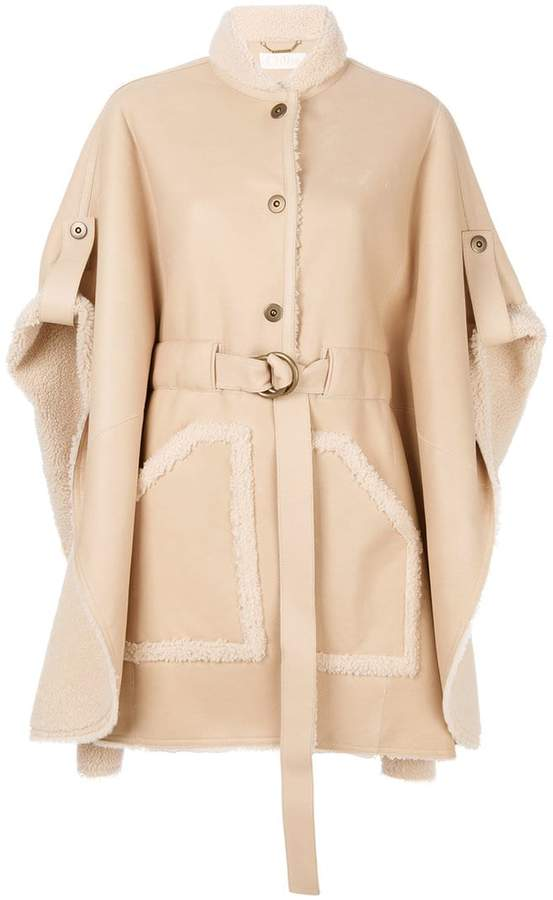 Chloé belted shearling leather cape