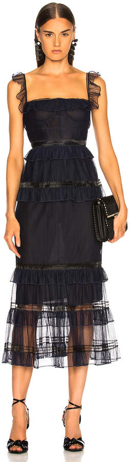 Jonathan Simkhai Strapless Bustier Dress in Midnight & Black | FWRD