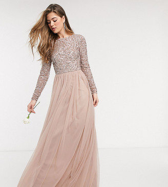 Maya Tall Bridesmaid long sleeve v back maxi tulle dress with tonal delicate sequin in taupe blush