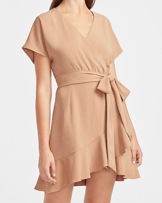 Express Ruffle Wrap Front Mini Dress