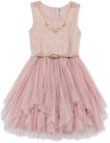 Beautees Knit Works Sleeveless Metallic Belted Ballerina Dress with Necklace - Girls 7-16