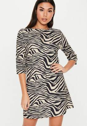 Missguided Cream Zebra Three Quarter Sleeve Shift Dress
