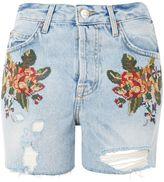 Topshop MOTO Cross Stitch Floral Ashley Shorts