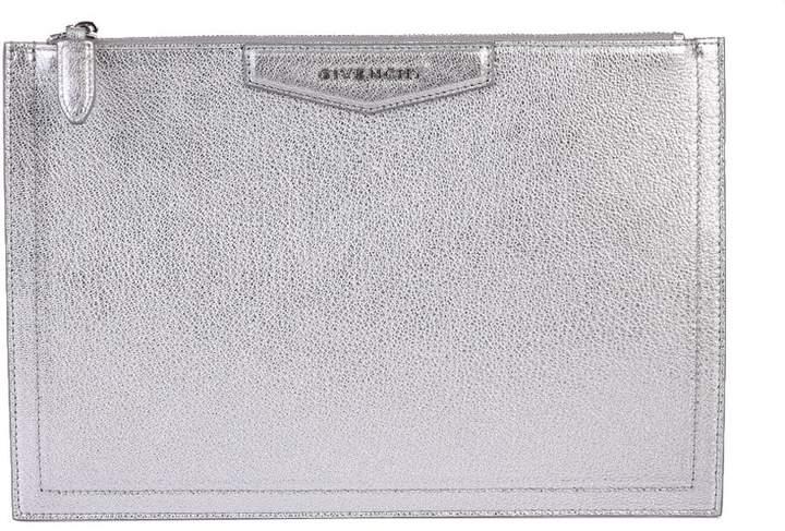Givenchy Silver Metallic Medium Antigona Clutch
