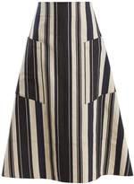 ZEUS + DIONE Tyche A-line striped silk-blend skirt