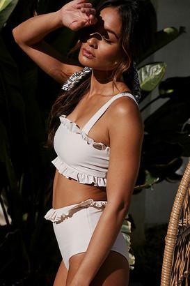 Ivy Ruffled Bikini Top By Citrine Swim in Beige Size S