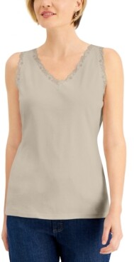 Karen Scott Cotton Scalloped-Lace Tank Top, Created for Macy's