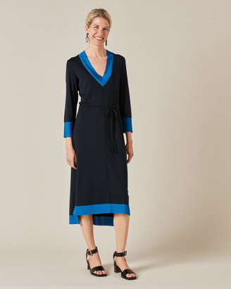 Jigsaw V Neck Contrast Midi Dress