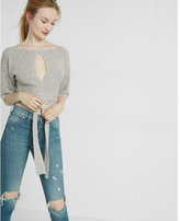Express cut-out knit wrap sweater