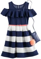Knitworks Knit Works Girls 7-16 Knit Works Cold-Shoulder Textured Skater Dress with Crossbody Purse