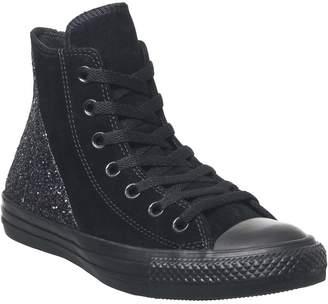 Converse Hi Leather Trainers Black Multi Glitter Split Panel Exclusive