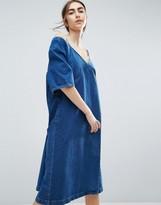 Asos Denim Cold Shoulder Dress In Midwash Blue