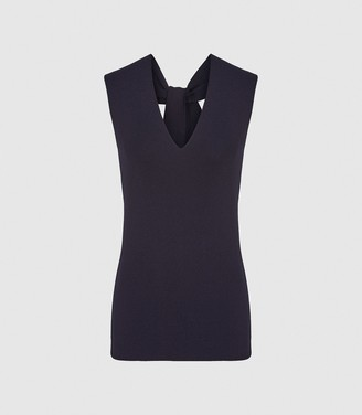 Reiss HAYLEY KNITTED V-NECK TOP Navy