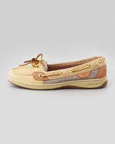 Sperry Angelfish Leopard-Embossed Boat Shoe, Natural