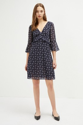 French Connection Agata Georgette V Neck Floral Dress
