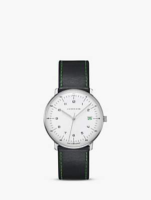 Junghans 041/4811.00 Unisex Max Bill Edition 2018 Date Leather Strap Watch, Black/White