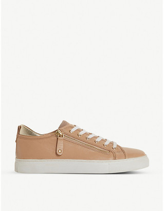 Dune Elicia zip-detail leather trainers