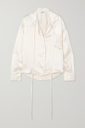 Loewe Oversized Tie-detailed Embroidered Satin Blouse - White