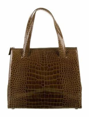 Prada Alligator Handle Bag Olive