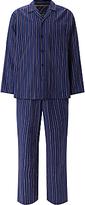 John Lewis Herringbone Stripe Brushed Cotton Pyjamas, Navy