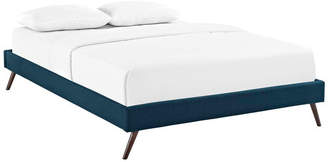Lexmod Loryn Queen Upholstered Fabric Bed Frame w/ Round Splayed Legs, Azure