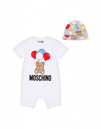 Moschino Balloons Teddy Bear Onesie And Hat Set Unisex White Size 3/6m It