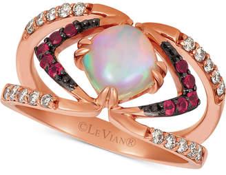 LeVian Le Vian Neopolitan Opal (3/4 ct. t.w.), Passion Ruby (1/6 ct. t.w.), & Nude Diamonds (1/4 ct. t.w.) Ring set in 14k Rose Gold