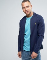 Lyle & Scott Sweat Bomber Jacket Eagle Logo in Navy