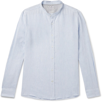Brunello Cucinelli Grandad-Collar Striped Linen And Cotton-Blend Gauze Shirt