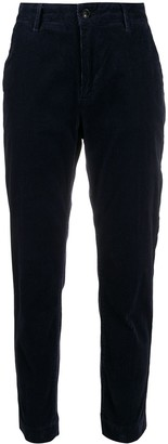 Closed slim-fit corduroy trousers