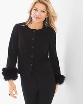 Chico's Ponte Faux-Fur Cuff Jacket