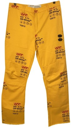 Off-White Yellow Cotton Trousers