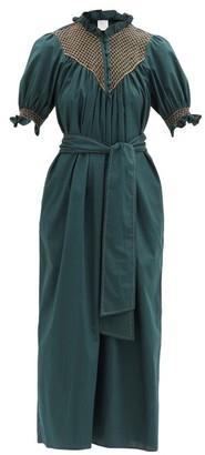 Loretta Caponi Elena High-neck Smocked Cotton Dress - Dark Green