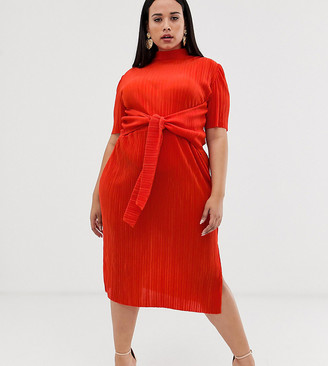 Asos DESIGN Curve knot front plisse midi dress-Orange