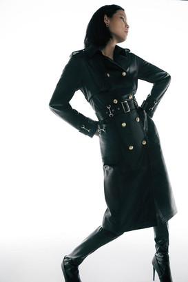 Karen Millen Leather Snaffle Trim Trench Coat