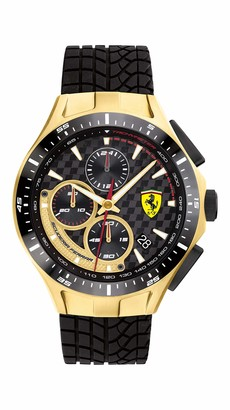 Ferrari Men's Race Day Stainless Steel Quartz Watch with Silicone Strap