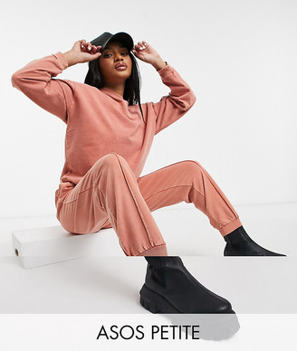 ASOS DESIGN Petite tracksuit oversized sweat / oversized jogger with pintuck in acid wash in terracotta