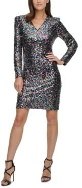DKNY V-Neck Sequinned Sheath Dress