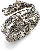 Naga 18K Yellow Gold & Sterling Silver Dragon Head Double Coil Bracelet
