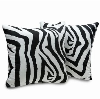 "Pergamino Zebra DS Cowhide Pillow Cover 15""x15"""
