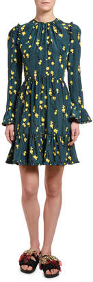 Visconti Double J Bell-Cuff Floral Dress