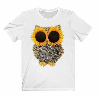 Nobrand Novelty Cute Graphic Tees for Women Casual Summer Funny Owl Sunflower Print Crewneck Short Sleeve Personality Idea T Shirt Tops White