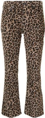 R 13 Kick Fit leopard-print jeans
